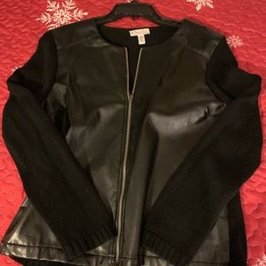 Faux leather and knit women jacket